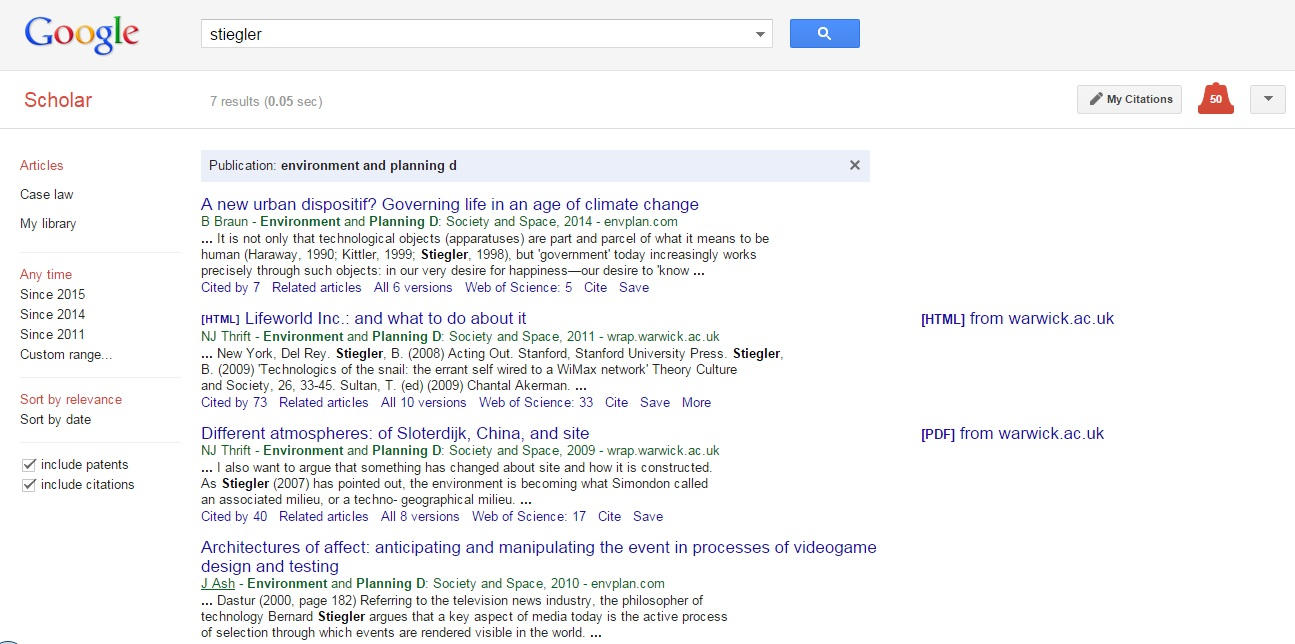 Google Scholar EPD search results
