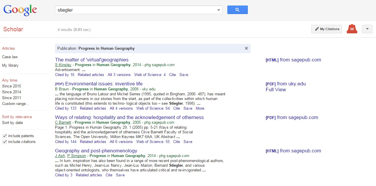 Google Scholar Progress search results